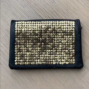 Gold Studded Black Faux Leather Clutch Crossbody